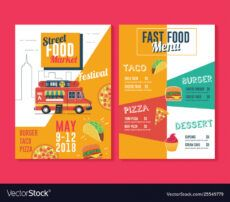 food truck flyer and menu template street food vector image food truck menu template doc