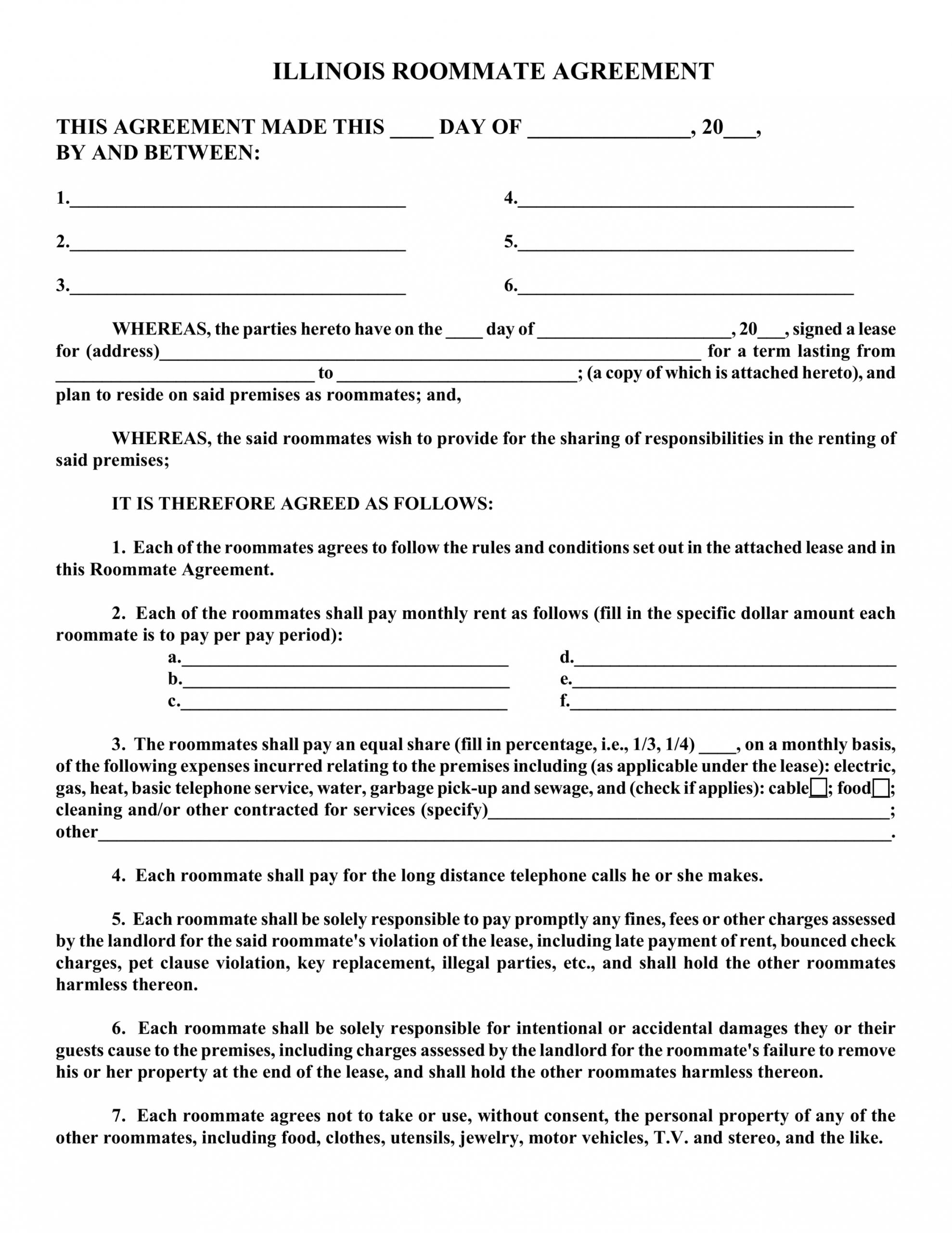 free free illinois roommate room rental agreement form  pdf room rental application form template example