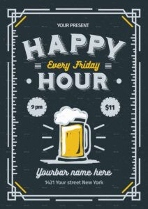 free happy hour flyerlilynthesweetpea  graphicriver happy hour menu template doc