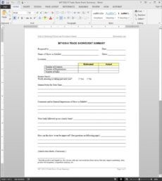 free trade showevent summary template  mt10309 trade show registration form template excel