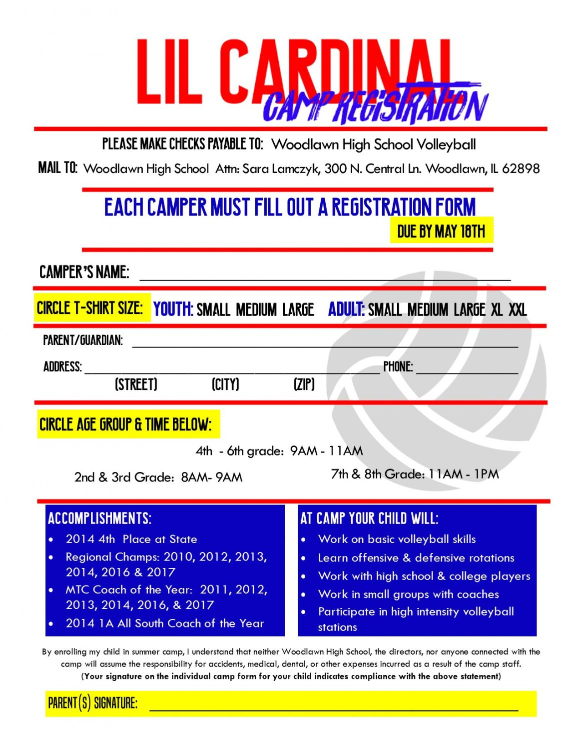 free woodlawn schools  lil cardinal volleyball camp volleyball registration form template example