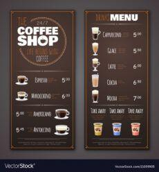 printable coffee shop menu design template royalty free vector image coffee shop menu template sample