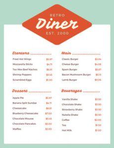 printable customize 1850 menu templates online  canva 50s diner menu template word