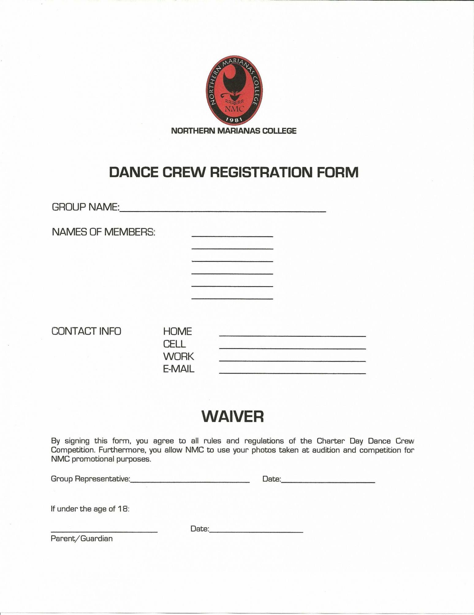 printable free 12 dance registration forms in pdf pdf  ms word  excel talent show registration form template sample