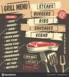 printable grill menu creative design with artistic food graphics restaurant menu  template steaks burgers kebab ribs sausages vector illustration grill menu template excel