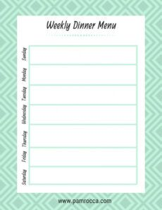 printable meal planning templates — pam rocca home dinner menu template example