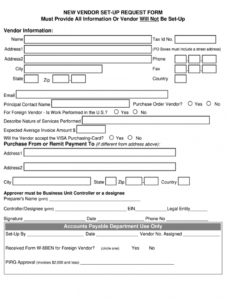 printable new vendor form  fill online printable fillable blank new vendor request form template example
