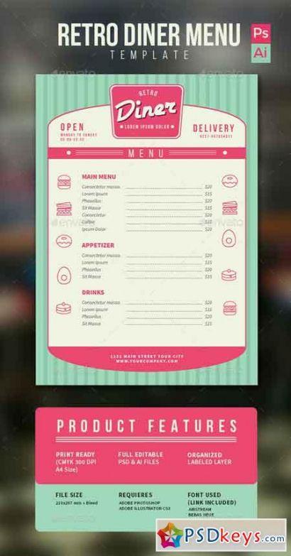 retro diner menu 13160109 » free download photoshop vector 50s diner menu template excel
