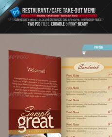 sample 10 psd trifold menu templates free images  trifold carry out menu template