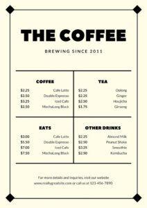 sample 60 best menu templates for restaurants & coffee shops coffee shop menu template word