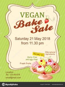 sample colorful flyer template for vegan bake sale promotion or banner for shop  store cafeteria or bakery cafe menu with realistic cupcakes on the plate bake sale menu template example