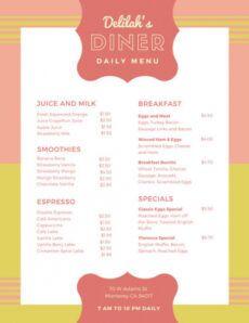 sample customize 38 diner menu templates online  canva 50s diner menu template sample