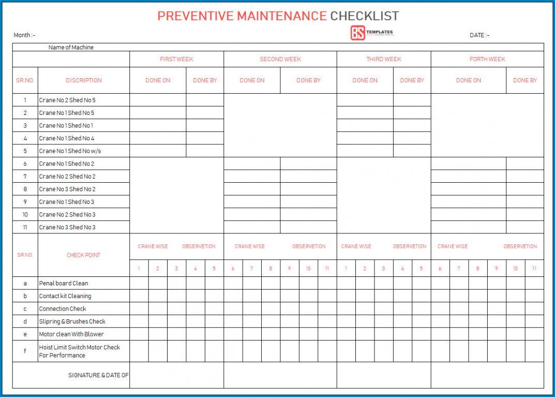 sample √ free printable preventative maintenance checklist preventive maintenance form template example