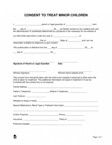 sample free minor child medical consent form  word  pdf  eforms babysitter medical consent form template sample