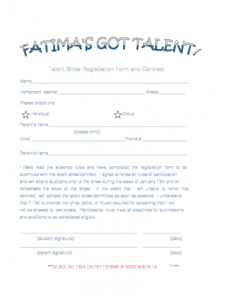 sample talent show registration form  2 free templates in pdf talent show registration form template example