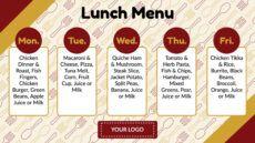 sample weekly lunch menu  digital signage template  rise vision elementary school lunch menu template word