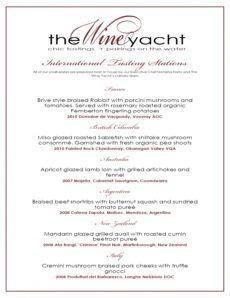 the wine yacht ~ official launch tasting menu wine pairing menu template sample