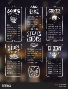 vector y foto menu template prueba gratis  bigstock grill menu template word