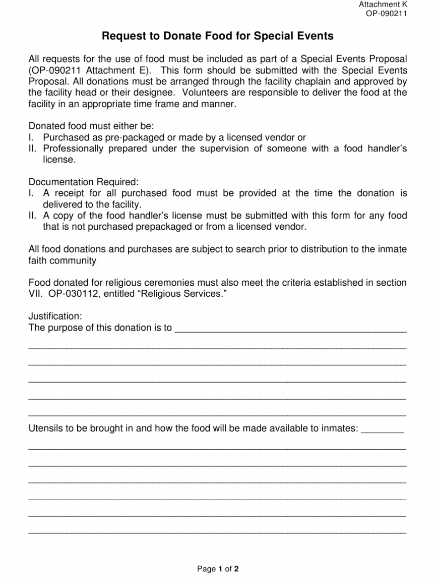 Best Food Request Form Template Word Sample