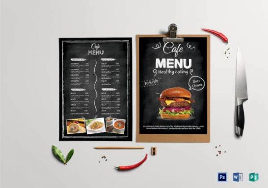 Costum Cafeteria Menu Template Doc Example