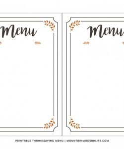Costum Party Planning Menu Template Word