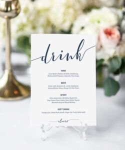 Costum Wedding Cocktail Menu Template Doc Sample