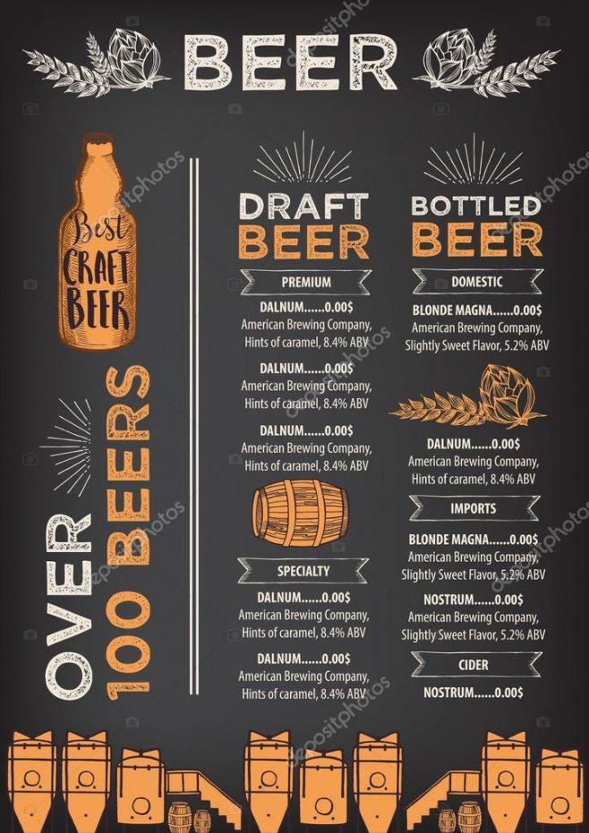 Editable Craft Beer Menu Template Doc