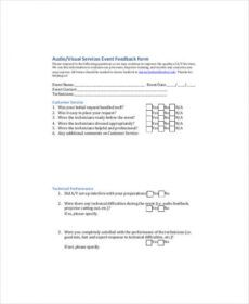 editable free 8 sample event feedback forms in pdf post event feedback form template pdf