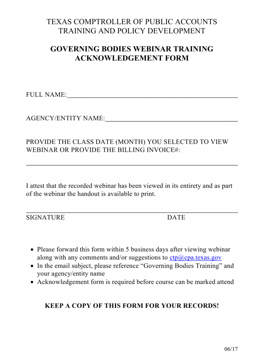 Editable Training Acknowledgement Form Template Doc