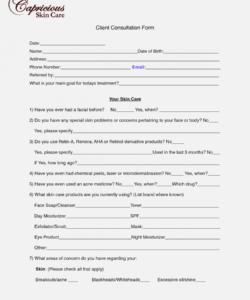 Esthetician Consultation Form Template Doc Example