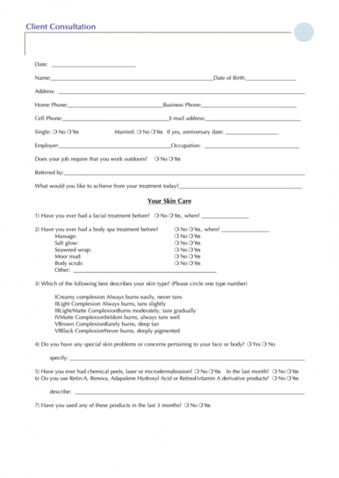 Esthetician Consultation Form Template Excel Example