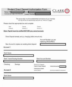 Free Bank Direct Deposit Form Template  Example