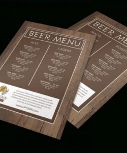Free Craft Beer Menu Template  Sample