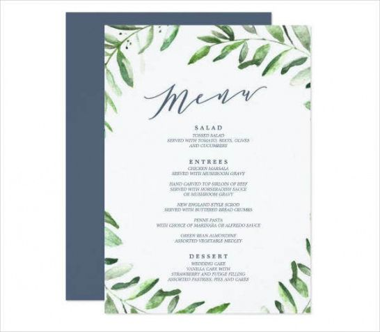 Free Party Planning Menu Template Pdf