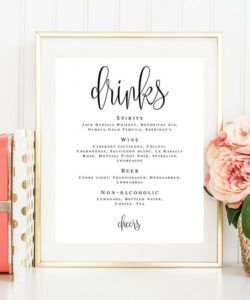 Free Wedding Cocktail Menu Template  Example