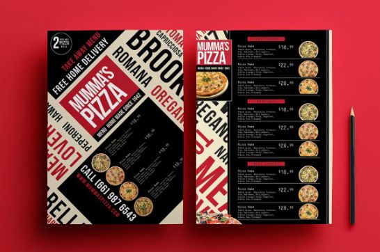 Pizza Menu Design Template Doc Example