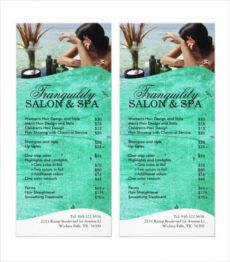 printable 24 spa menu templates  free sample example format beauty salon menu template