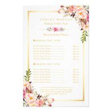 printable elegant chic pink floral beauty salon menu  zazzle beauty salon menu template example