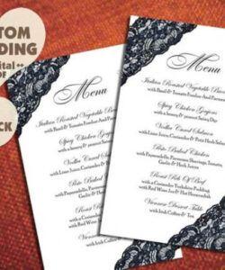 Printable Formal Wedding Menu Template Pdf Sample