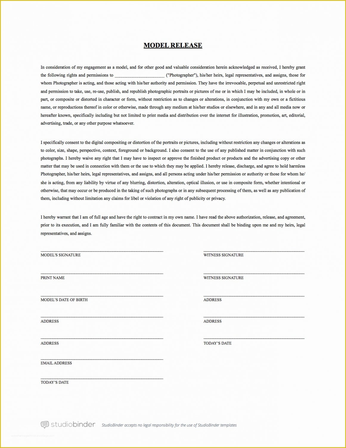 Printable Generic Model Release Form Template Pdf Sample
