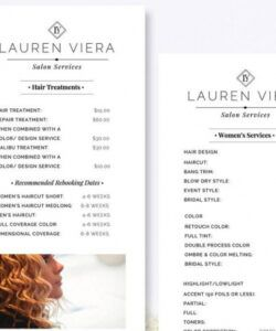 Printable Hair Salon Menu Template Excel Sample