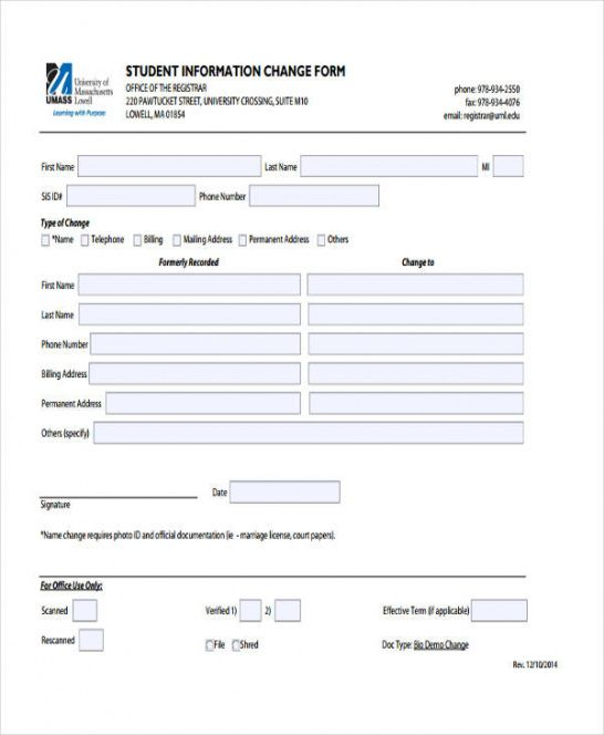 Professional Employee Address Change Form Template Pdf Example