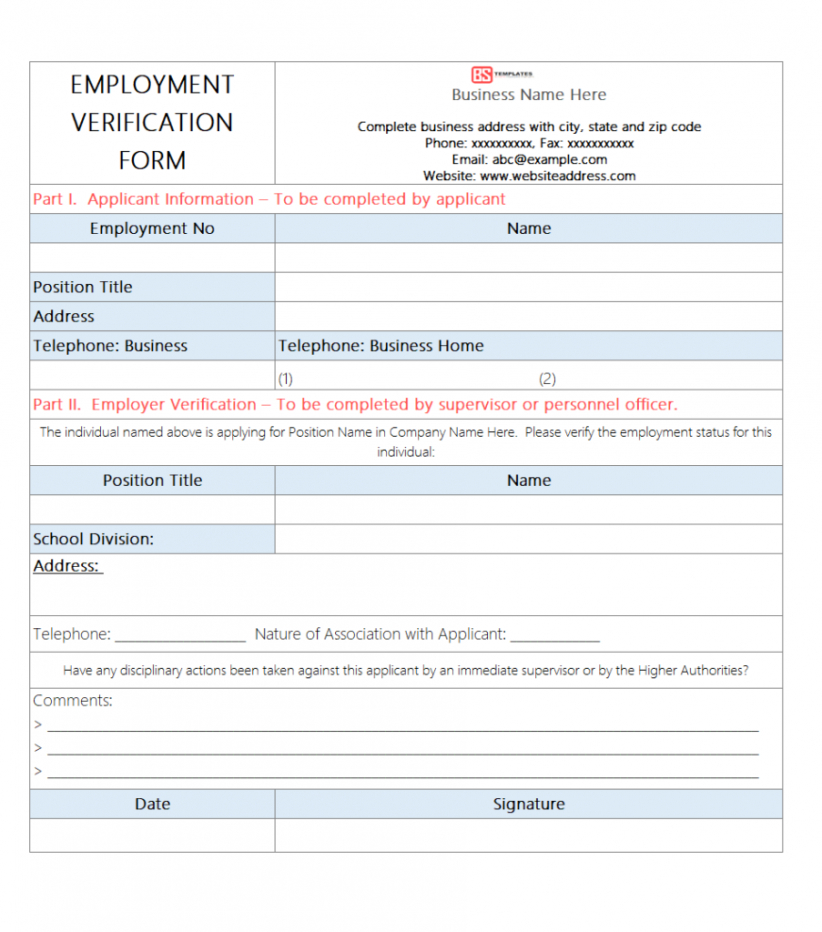 Professional Past Employment Verification Form Template Excel Sample