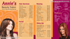 signmenu  digital template of a branded beauty parlor beauty salon menu template excel