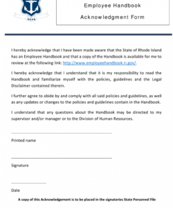 Training Acknowledgement Form Template Excel Sample