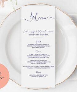 Wedding Rehearsal Dinner Menu Template Excel Sample