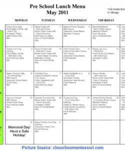 Best Daycare Lunch Menu Template Excel Sample