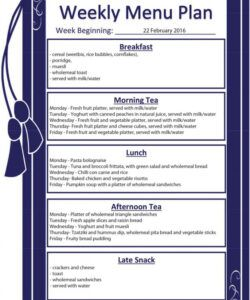 Best Daycare Weekly Menu Template Doc Example