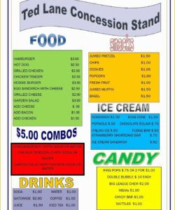 Concession Stand Menu Template Excel Sample