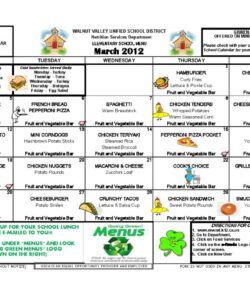 Costum Monthly School Lunch Menu Template Excel Sample